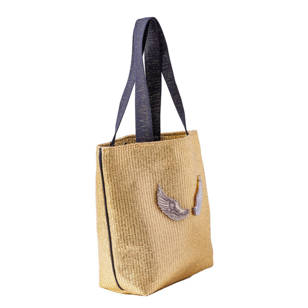 Fay Tote bag small  | Gold Raffia Wings - KOKU Concept