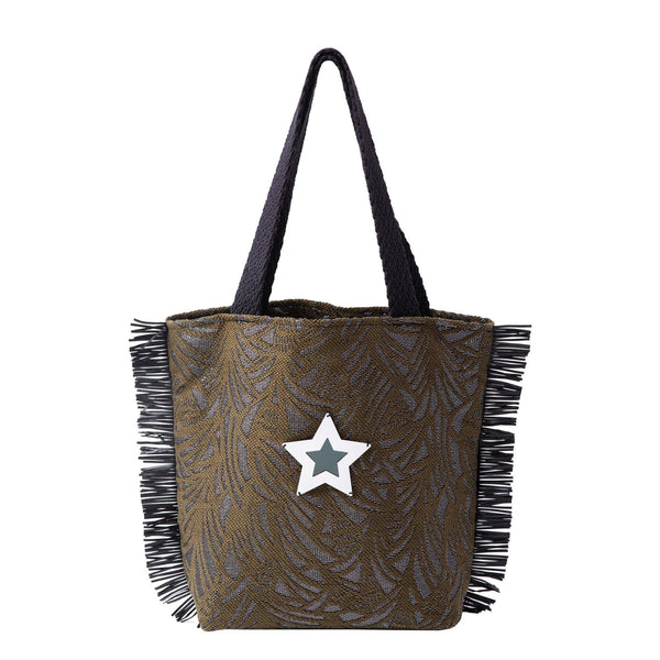 Fay Tote bag small  | Khaki Leaf Woven Star - KOKU Concept