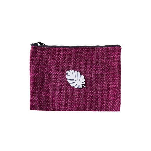 Mia Pochette | Purple Woven Tropical Leaf