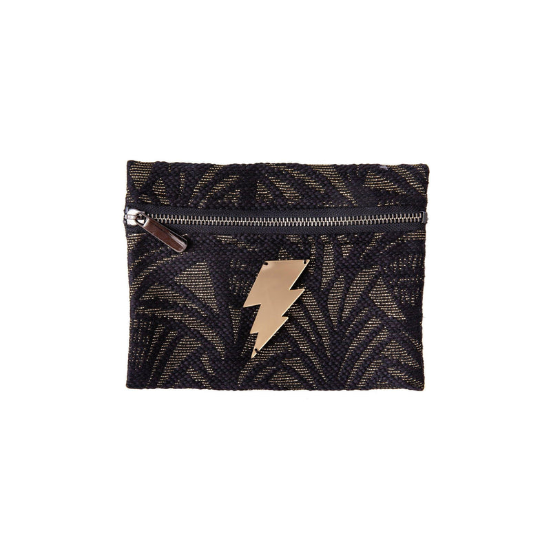 Aliki Mini Pochette | Black Leaf Woven Lightning