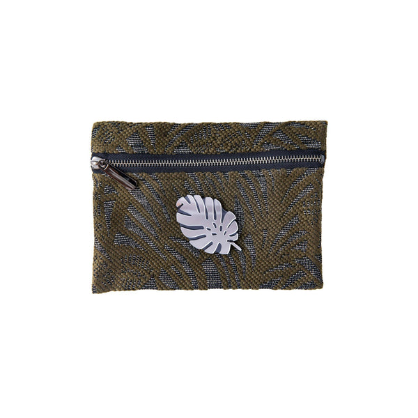 Aliki Mini Pochette | Khaki Leaf Woven Tropical Leaf
