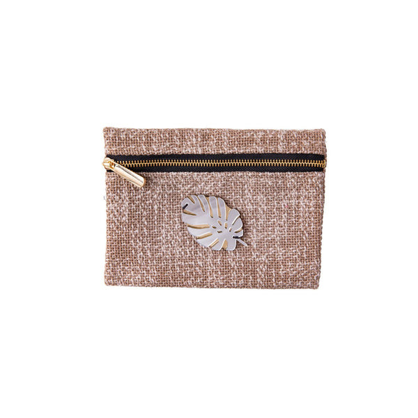 Aliki Mini Pochette | Beige Woven Tropical Leaf