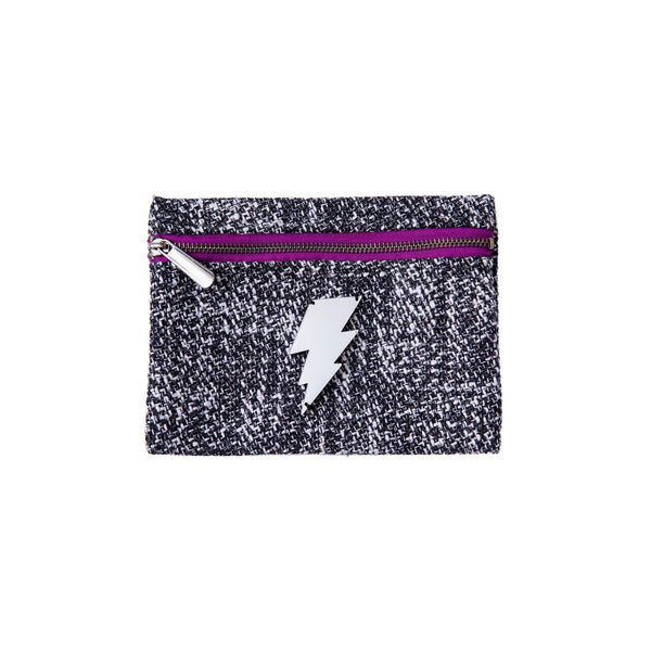 Aliki Mini Pochette | Black White Woven Lightning