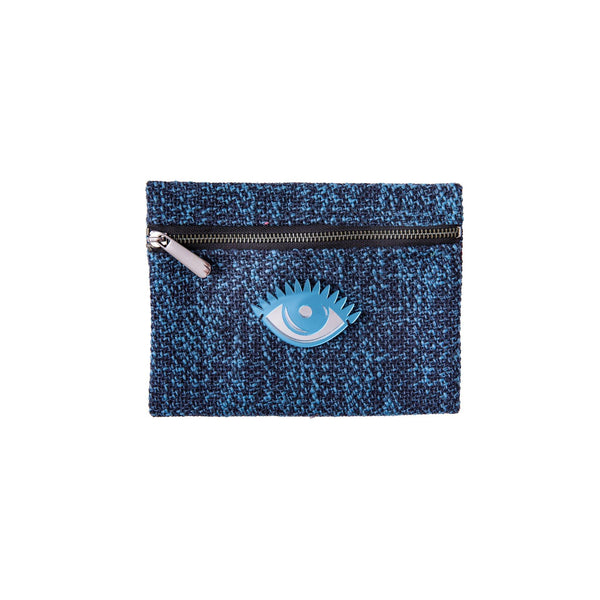Aliki Mini Pochette | Blue Woven Evil Eye