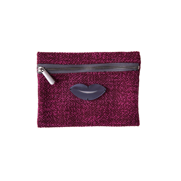 Aliki Mini Pochette | Purple Pink Woven Lips