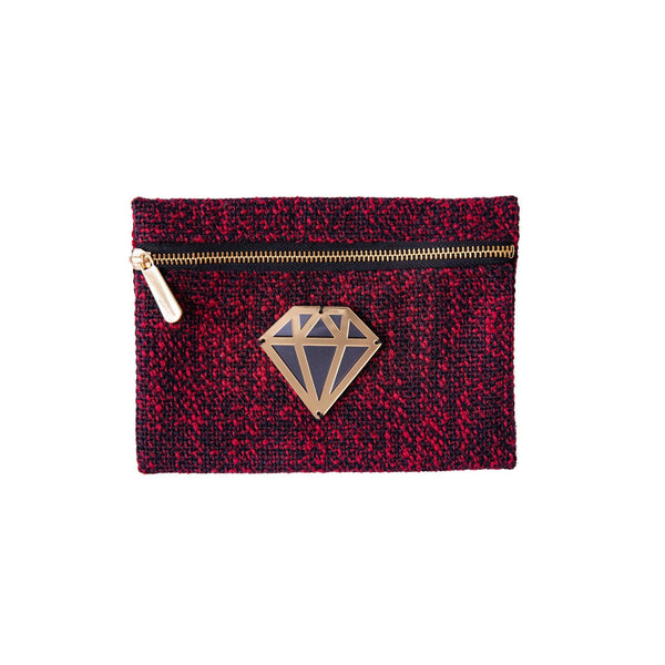 Aliki Mini Pochette | Red Black Woven Diamond