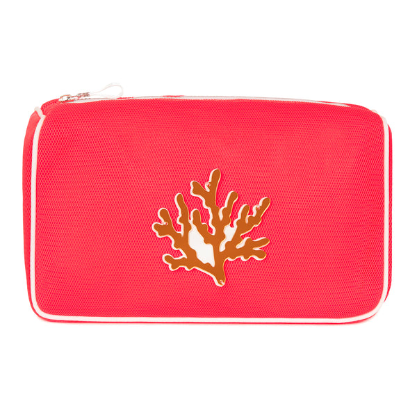 OLIVIA Pouch | Coral Fluo Net Coral
