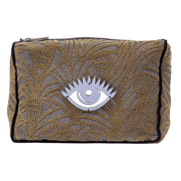 Blaze Beauty Bag | Khaki Leaf Woven Evil Eye - KOKU Concept