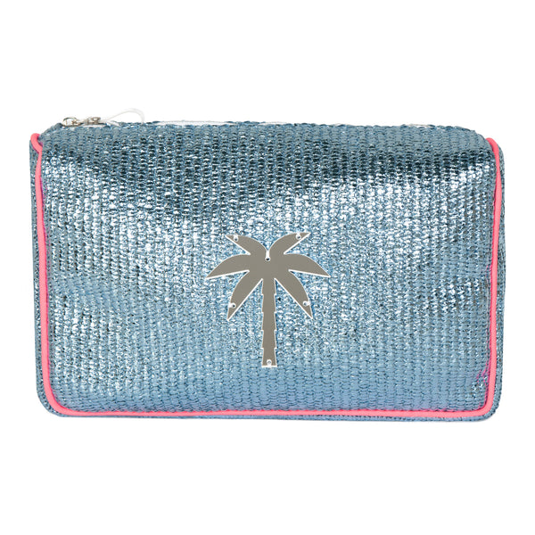 H006 | Olivia Metallic Blue Raffia Palm Tree