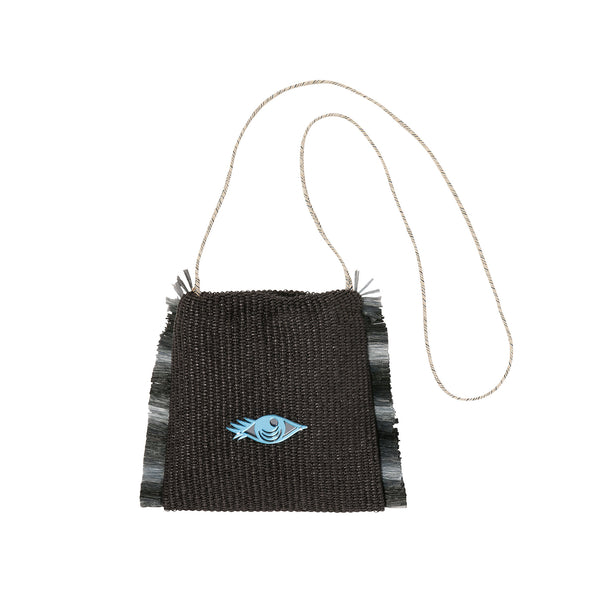 SANDY Cross Body Bag | Black Raffia Evil Eye