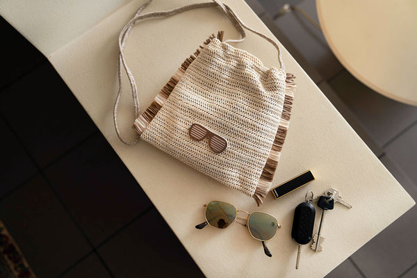 cross body bag beige raffia collection 2021 glasses- KOKU CONCEPT