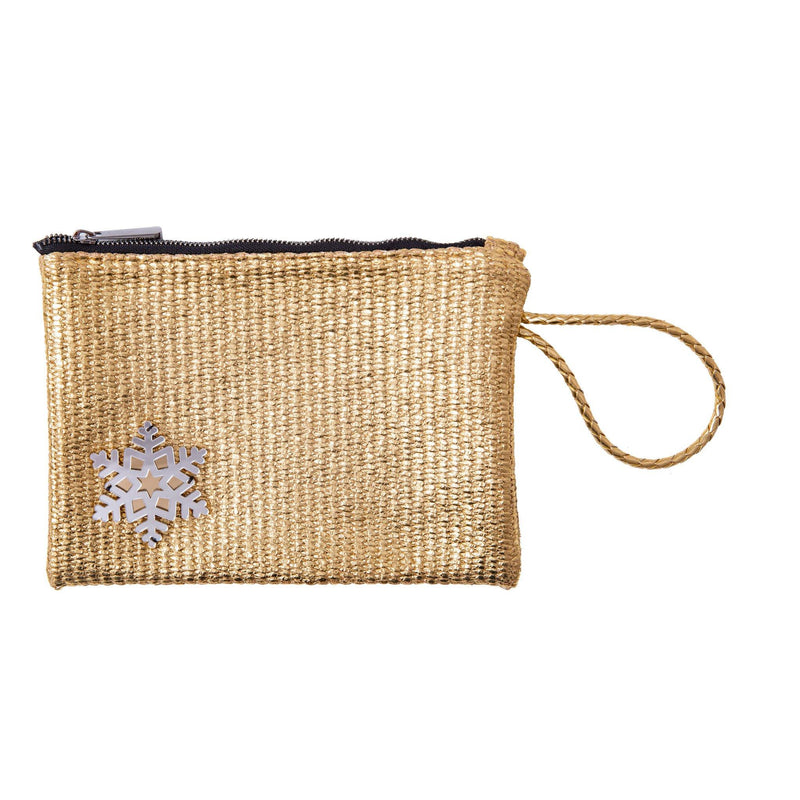 Stella All Day Pouch | Gold Raffia Snowflake