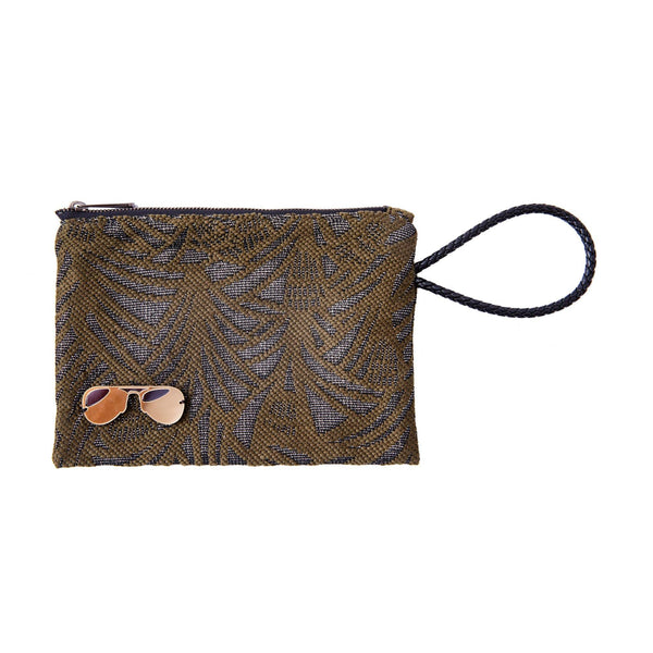 Stella All Day Pouch | Khaki Leaf Woven Glasses - KOKU Concept