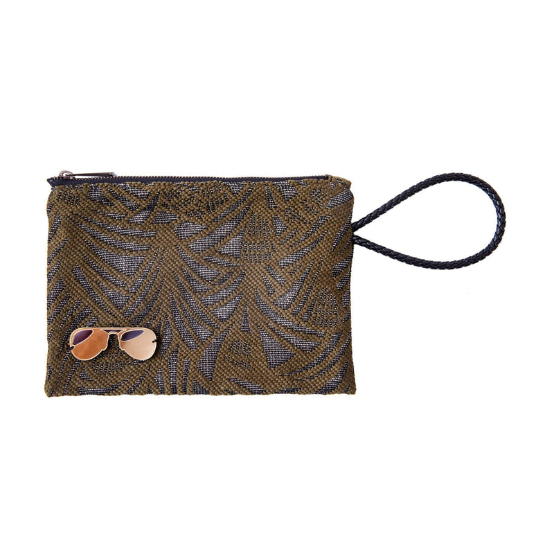 Stella All Day Pouch | Khaki Leaf Woven Glasses