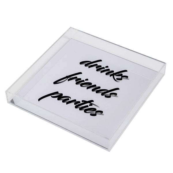 plexiglas tray drinks friends parties
