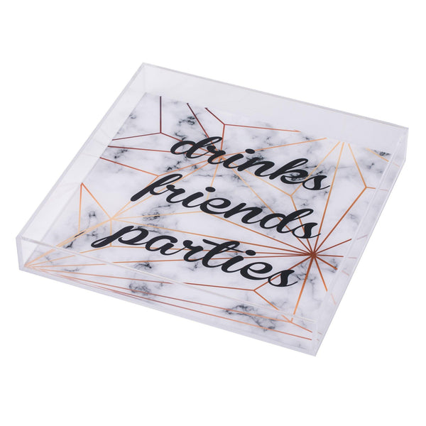 "ALICIA Tray ""DRINKS FRIENDS PARTIES MARBLE STAR"""