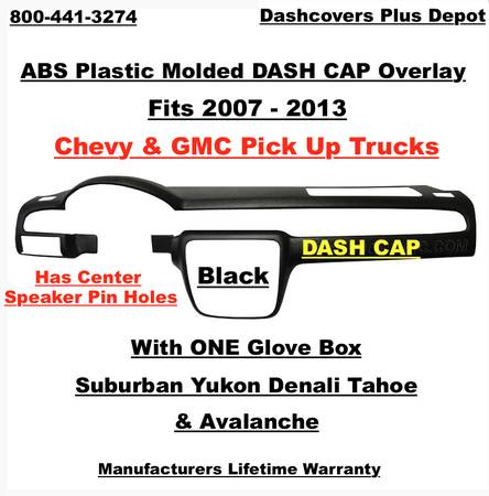 Chevy GMC Plastic Dash Cap Overlay With Center Speaker Black Free Shipping !