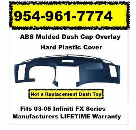 Dash Cap Overlay Fits 03-05 Infiniti Hard Plastic Cover Black FREE Shipping !