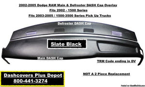 02 03 04 05 Dodge Ram Main & Defroster Dash Cap Overlay / FREE Shipping !