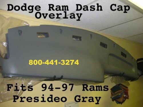 94-97 Dodge Ram Dash Cap Overlay Hard Plastic Cover / Presideo Gray Color