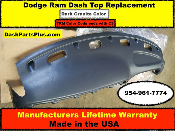 Dodge Ram Dash Top Replacement Fits 98-02 Pick Up Truck / Dark Granite