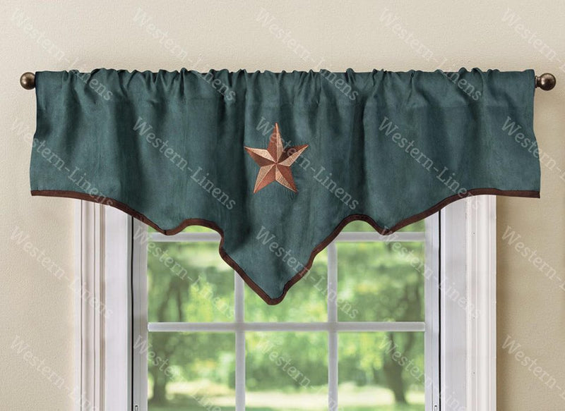 "Western Embroidery Star Suede Valance Curtain Panel - Micro Suede - 3 Styles - 60""x18"""