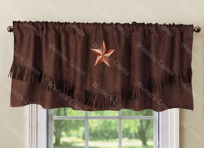 "Texas Western Embroidery Star Suede Valance Curtain Panel - 3 Styles - 60""x18"""