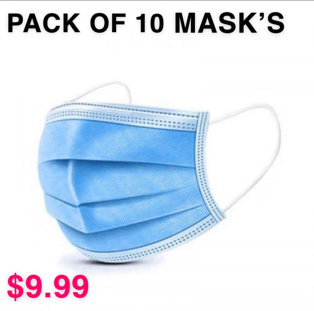 Disposable Blue Mask - 10 Mask Package