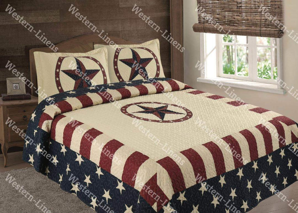 Vintage American Flag -Red, White & Blue - 3pc Bedspread