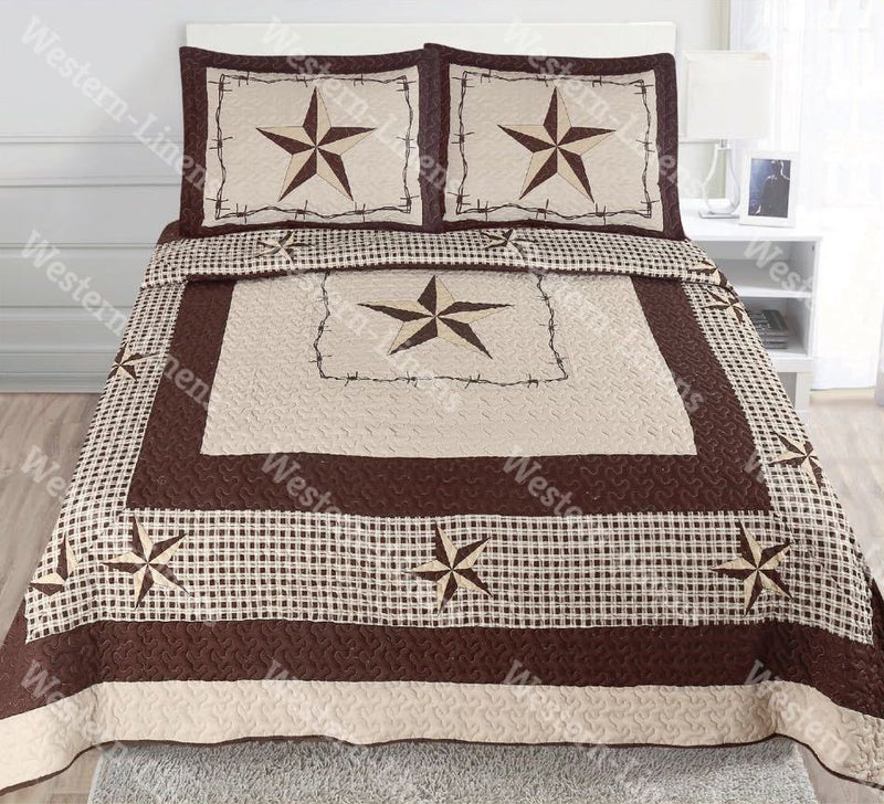 Western Rustic Brown Checkers Star Bedspread Quilt-3pc Set