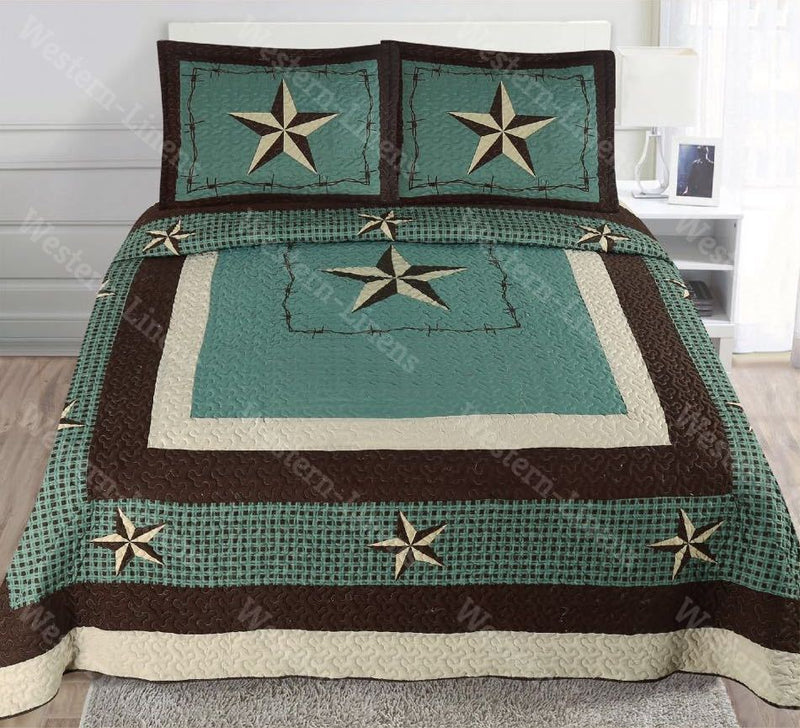 Rustic Checkers Rodeo Cowboy Western Star Quilt Bedspread Comforter-3pc Set