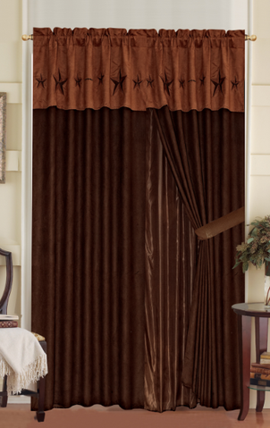 Texas Western Embroidery Star Suede Curtain With Lining Set - Camel Brown