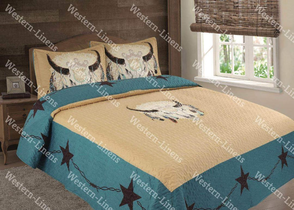 Buffalo Dream Catcher Bed Spread Quilt- 3 pc Western Bedding