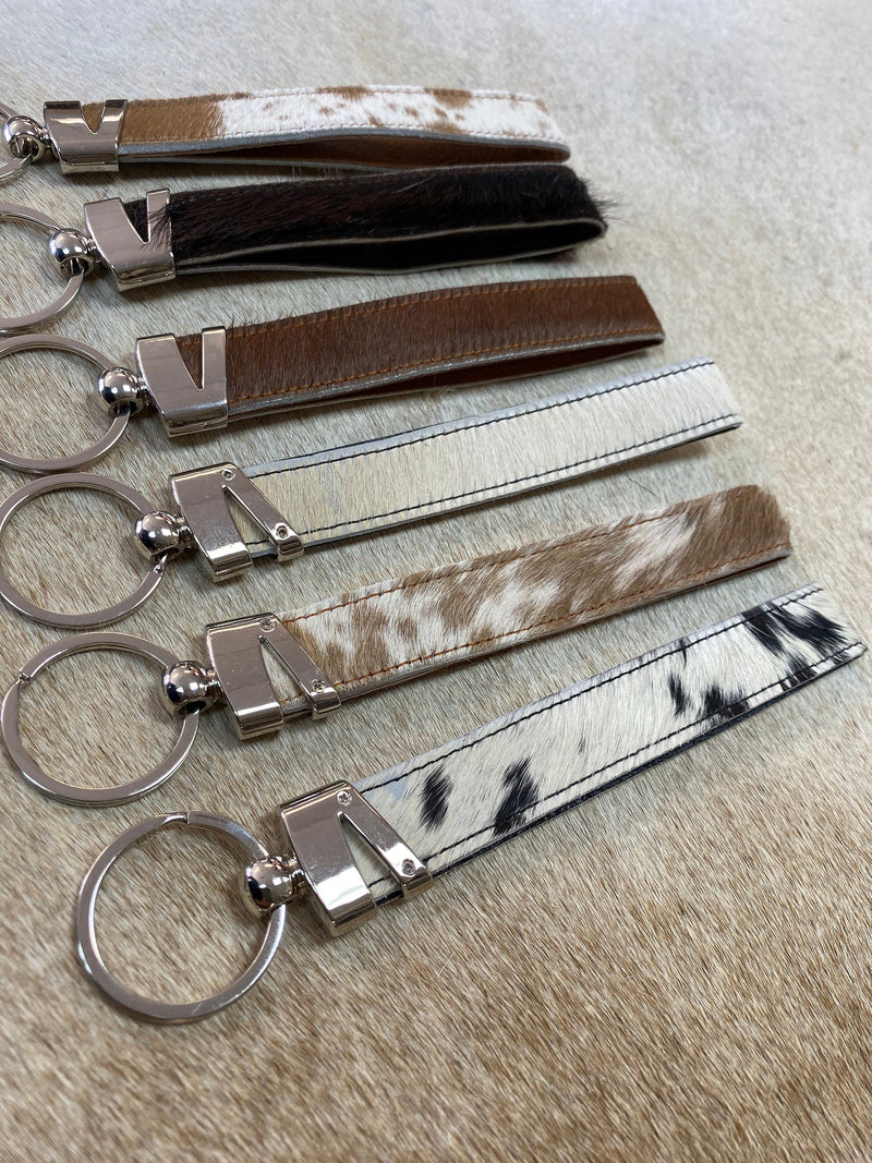 100% Brazilian Cowhide keychain with leather backing