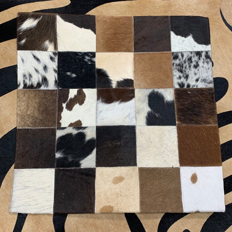 "Cowhide Pillows Cushion Covers Leather Real Cow Hide Skin Patchwork 18"" x 18"""