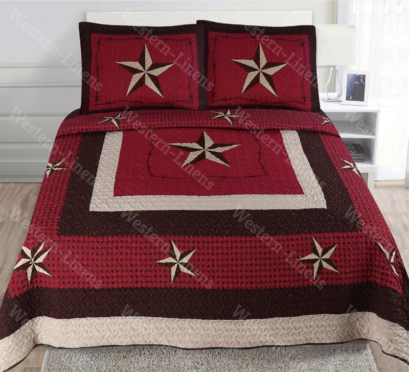 Western Rustic Red Checkers Star Bedspread Quilt-3pc Set