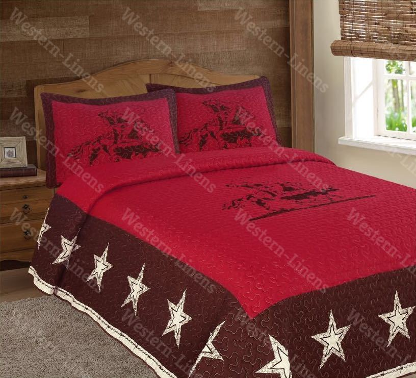Rustic Red Rodeo Cowboy Star Western 3pc Quilt