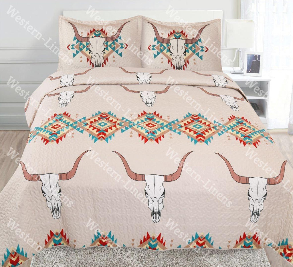 Southwest Longhorn Bed Spread Quilt 3pc