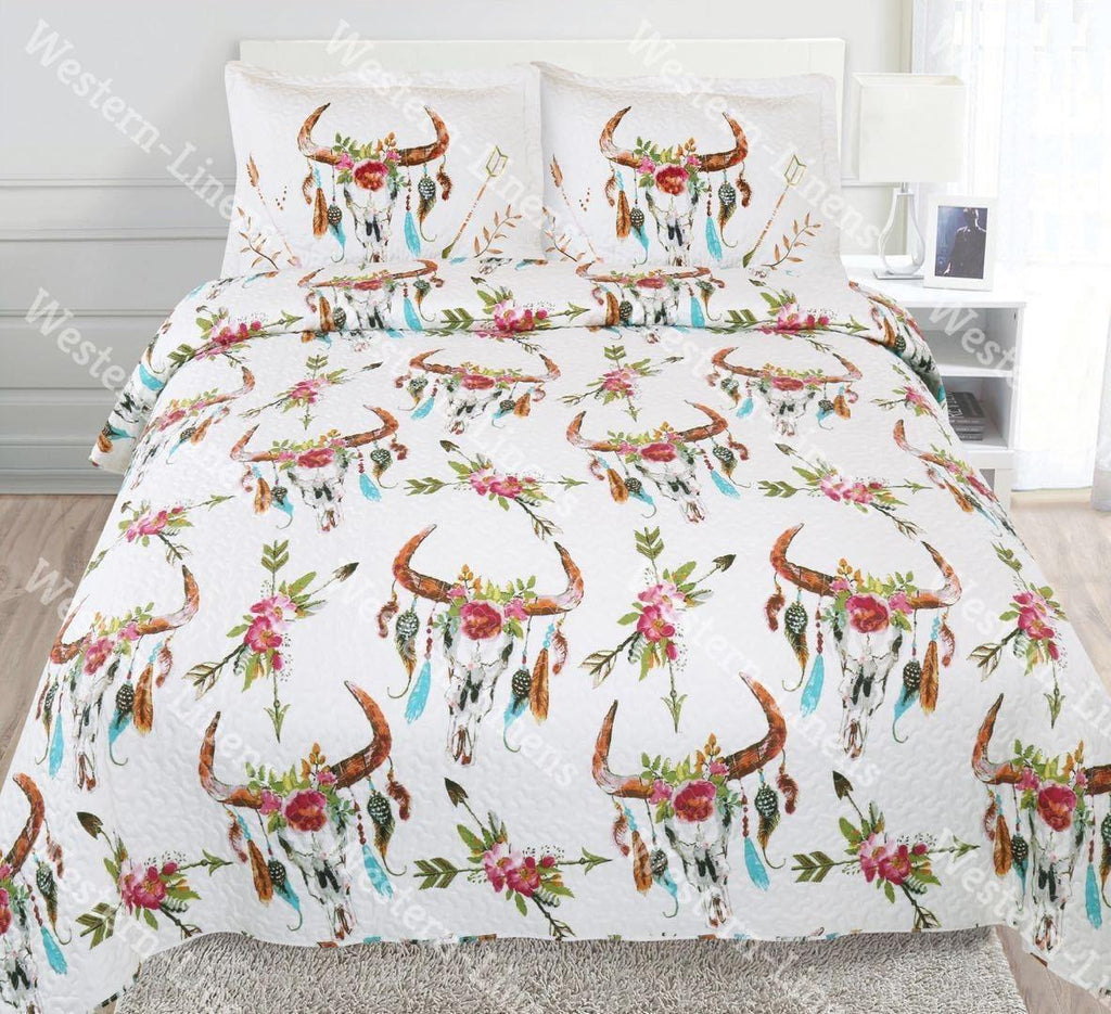 Copy of Flowers & Skulls Western 3pc Quilt Set