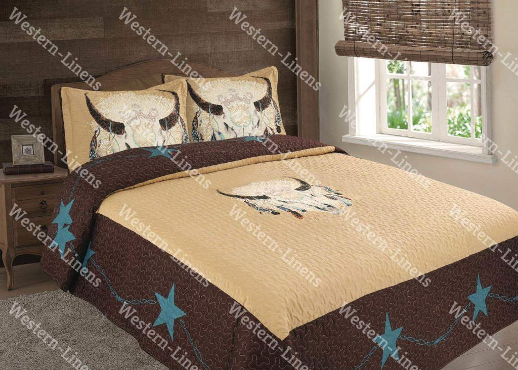 Buffalo Dream Catcher Bed Spread Quilt- 3 pc