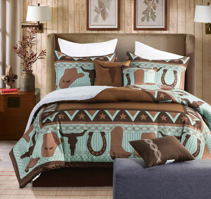 Western Cowboy Turquoise Rustic Brown Cow Skull Comforter Set - 7 Piece Set