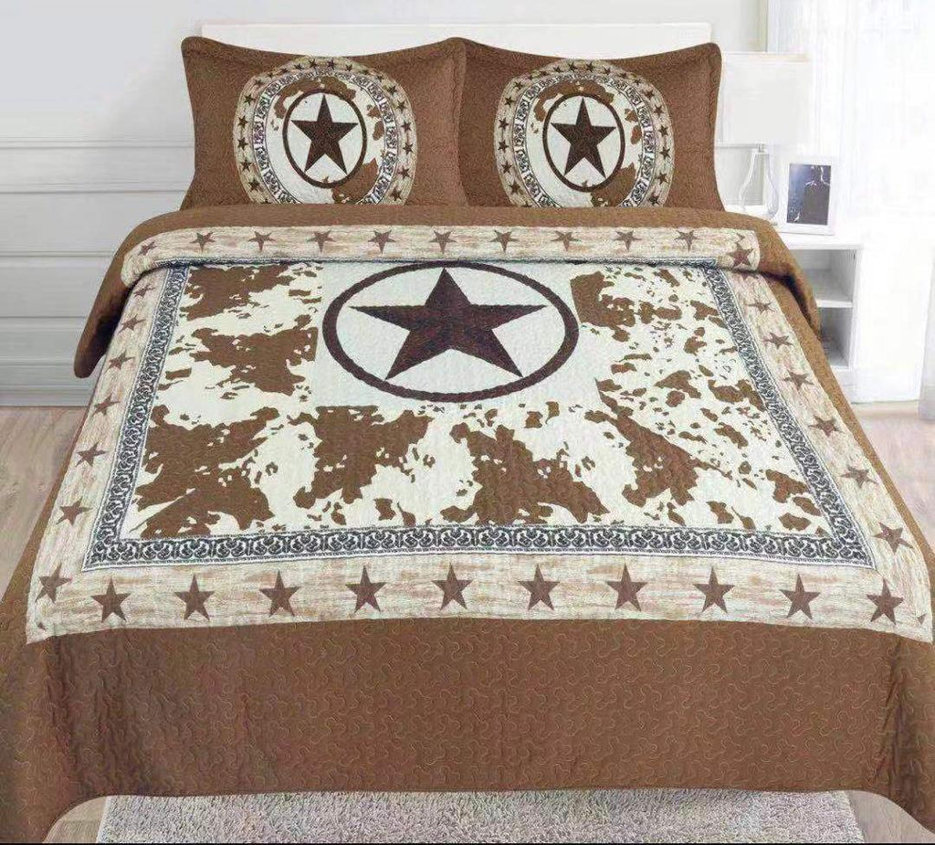Taupe Cow Brown Star - 3pc Bedspread