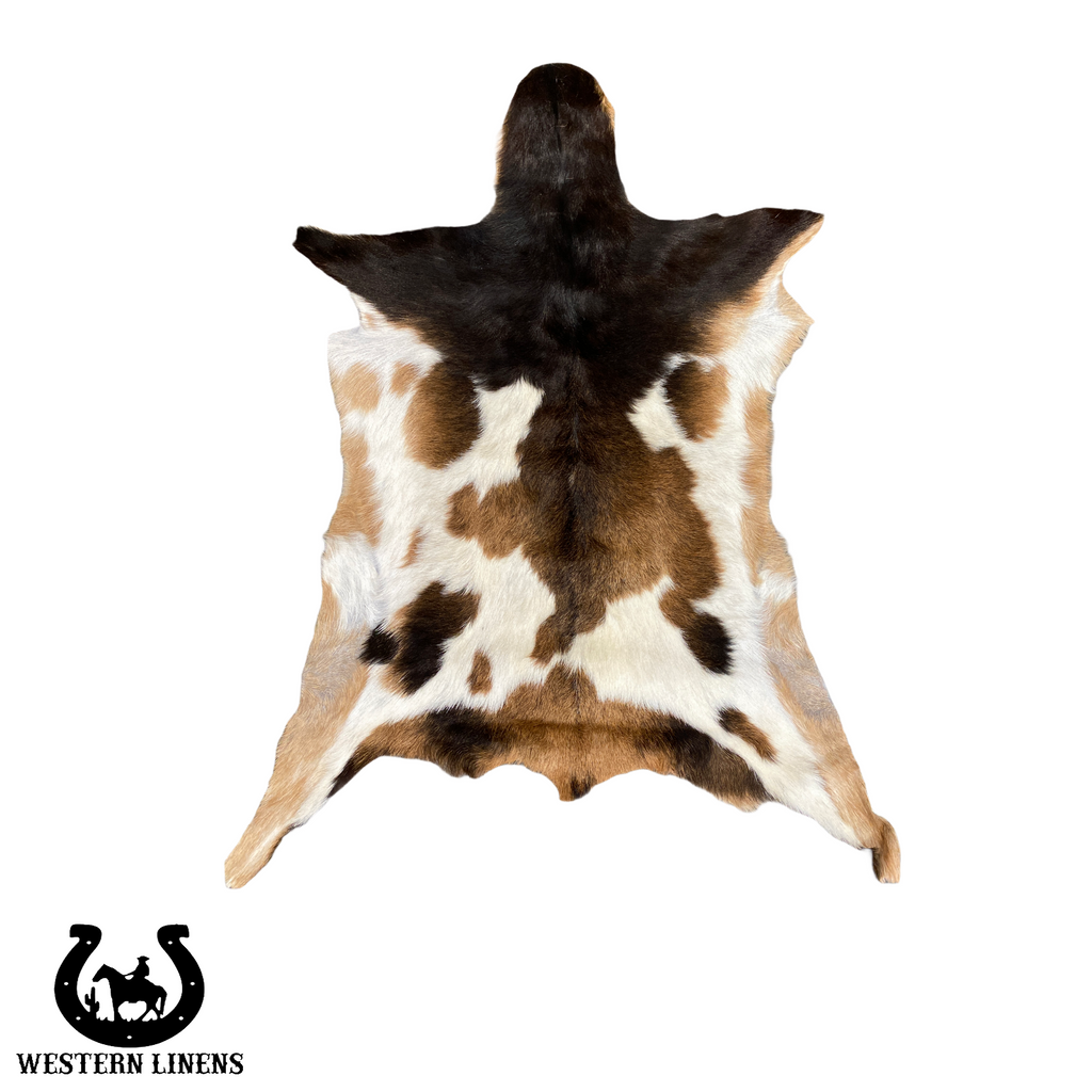 Exotic spotted brown & White Goat Hide - Approx 2-4 feet big #00G17