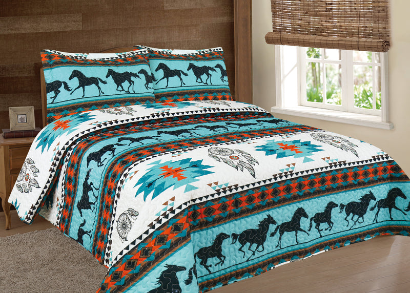 Southwest Turquoise Running horse 3pc Bedspread