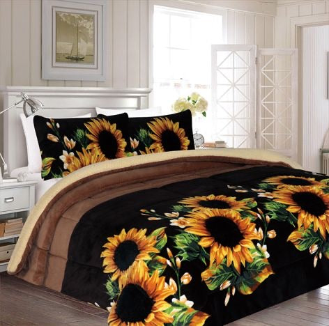 Sunflower 3pc Sherpa Blanket