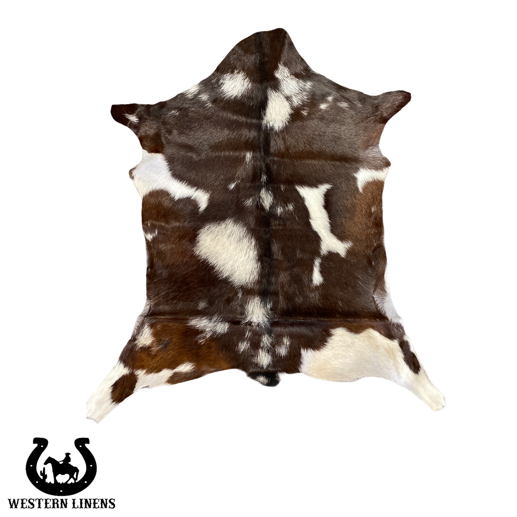 Brown & white goat hide with moon drops - Approx 2-4 feet big #00G6