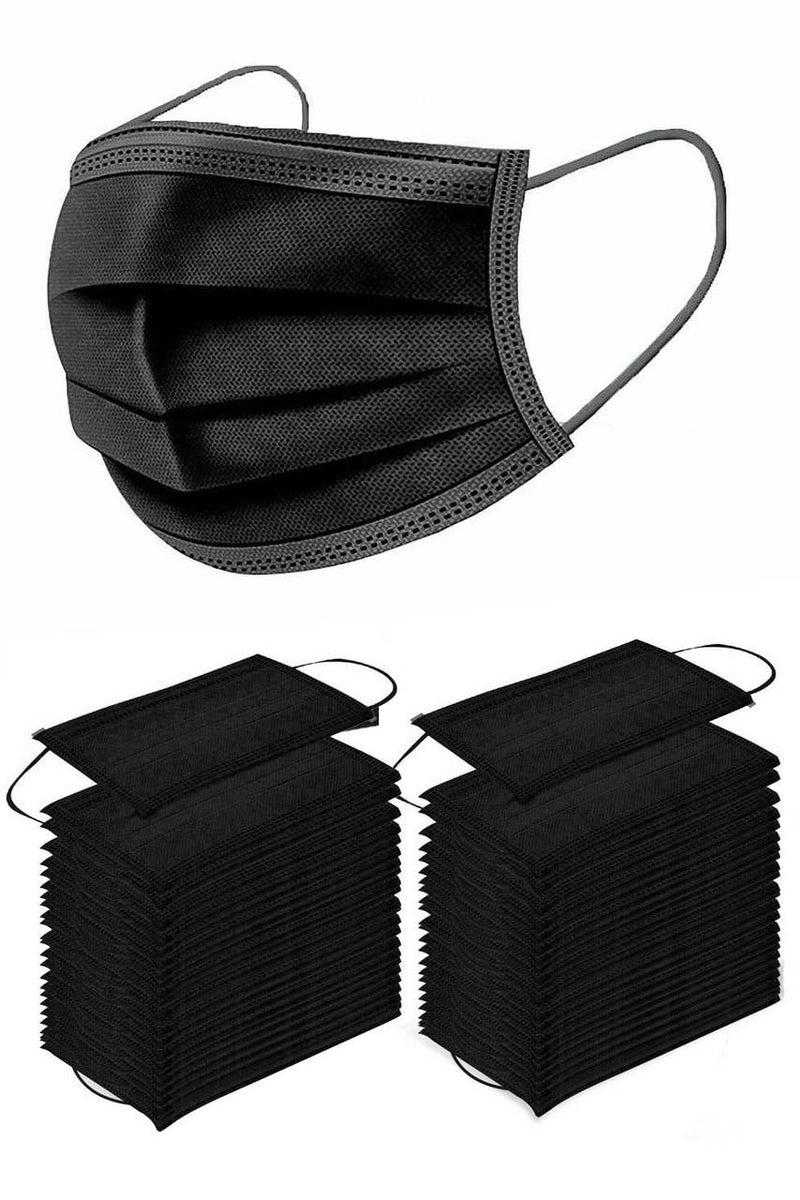 Black 50 PCS Face Mouth MASK. 3 Layer Filter, Dustproof, Earloop.