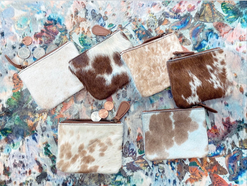 Assorted natural Cowhide coin pouch