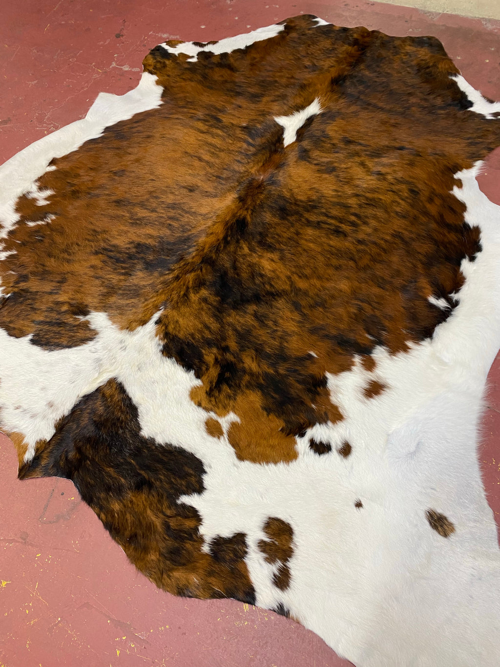 Exotic Brown & White Brindle Brazilian cowhide - 7' x 7'