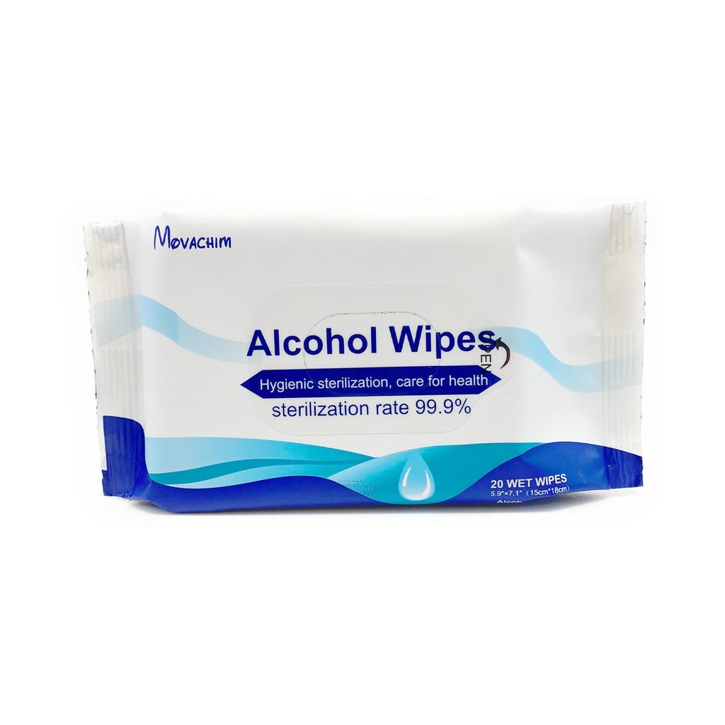 MOVACHIM STERILIZING SKIN SAFE ALCOHOL WIPES - 20 Wipes